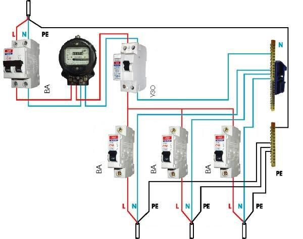 Схема разводка электропроводки в частном доСнеговик из
